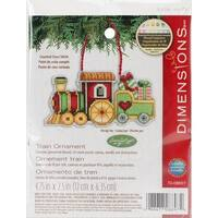 "Susan Winget Train Ornament Counted Cross Stitch Kit-3.75""X2.25"" 14 Count Plastic Canvas"