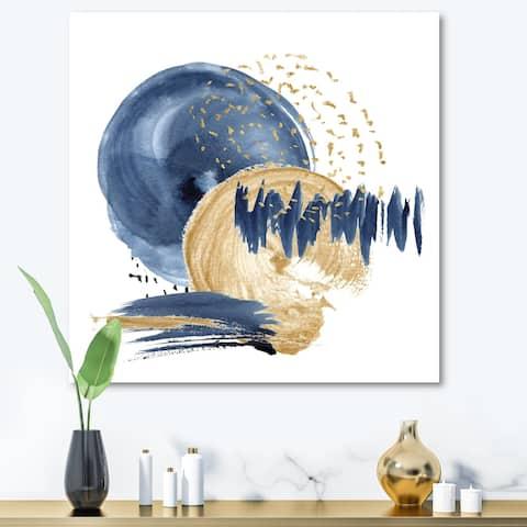 Designart 'Dark Blue & Gold Abstract Circle Ocean Texture' Modern Canvas Wall Art Print