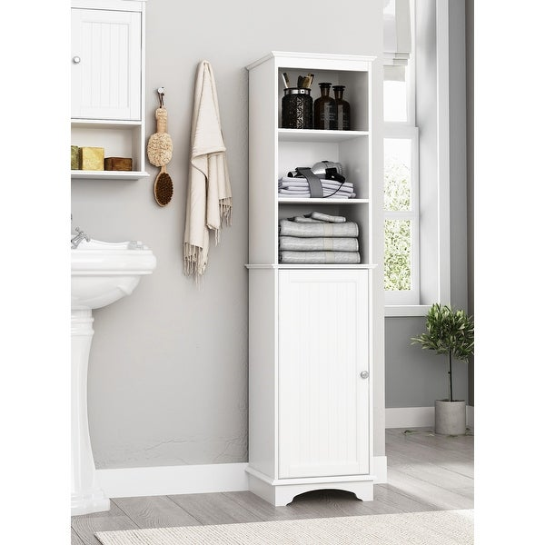 Spirich Home Freestanding Storage Cabinet with Three Tier Shelves, Tall Slim Cabinet, Free Standing Linen Tower, White Finish. Opens flyout.