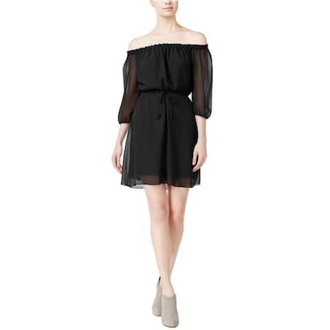 Kensie Womens Off One Shoulder Dress, Black, Small