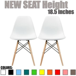 "2xhome - Set of Two (2) - New Seat Height 18.5"" - Eames Style Side Chair Natural Wood Legs Eiffel Dining Chair - Multiple Colors"