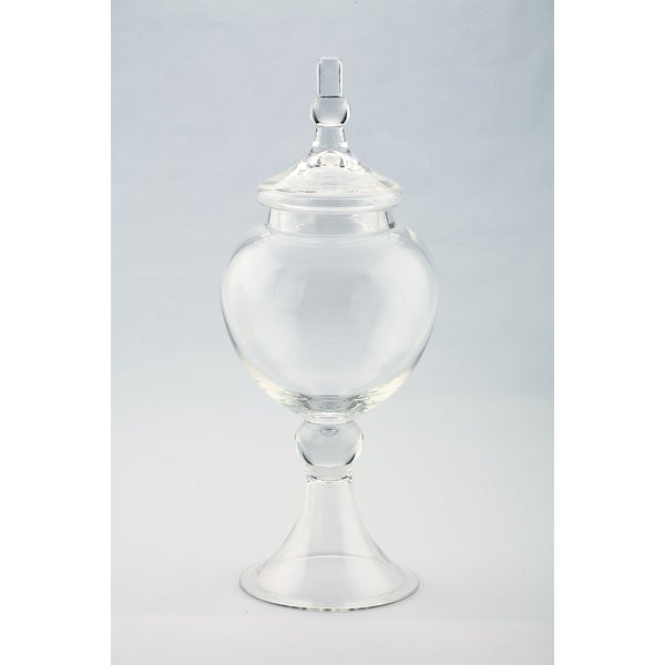 """16.5"""" Clear Hand-Blown Glass Jar with Finial Lid - N/A"""