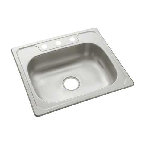 "Sterling 14631-3 Middleton 25"" Single Basin Drop In Stainless Steel Kitchen Sink with SilentShield - Stainless Steel"