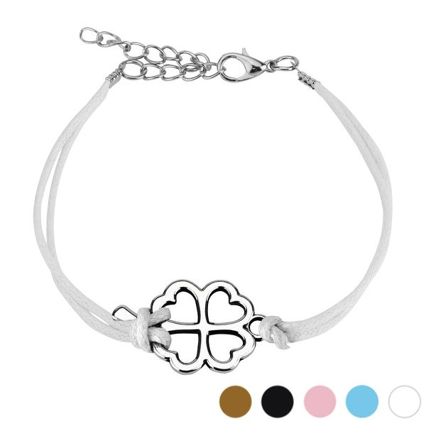 Clover Cast Iron Leatherette Bracelet with Lobster Claw Clasp (17 mm) - 7.5 in