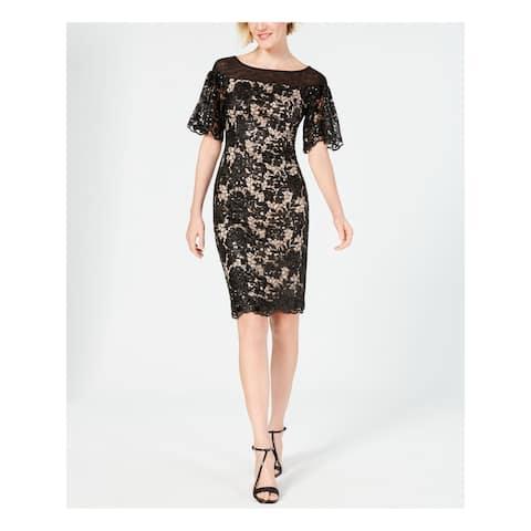 CALVIN KLEIN Black Short Sleeve Knee Length Dress 4