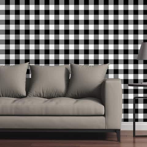 Removable Wallpaper Tile - Gingham Plaid in Black and White - Multi-Color