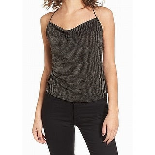 Leith NEW Black Women's Size XS Metallic Draped Neck Tank Cami Top