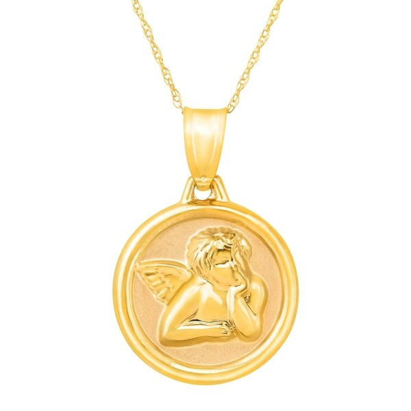 Just Gold Guardian Angel Prayer Pendant in 14K Gold - Yellow