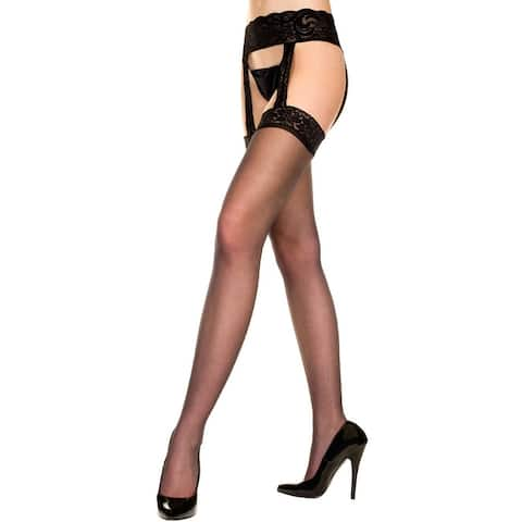 Sheer Stocking With Garter Belt, Sheer Lace Top Stockings - One Size Fits Most