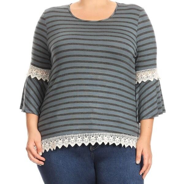 65fb433d61 Shop Women - Plus Size Stripe Crochet Lace Jersey Tunic Knit Top Tee ...
