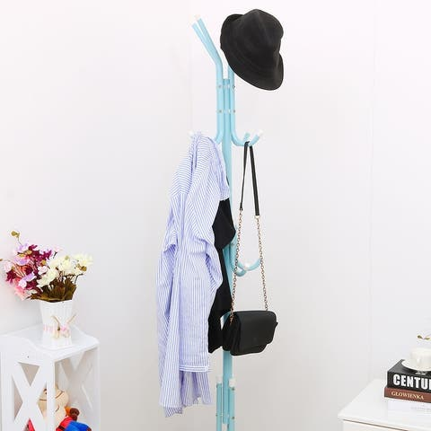 Mental Jacket Coat Hat Metal Rack Organizer Hanger Stand Tree with 12 Hooks for Handbag Clothes Scarf