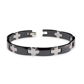 Tungsten Carbide and Black Ceramic Men's Link Bracelet (9mm Wide) 8.25 Inches