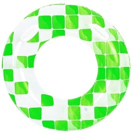 "47"" Green and White Fashion Mosaic Inflatable Swimming Pool Inner Tube Ring Float with Handles"