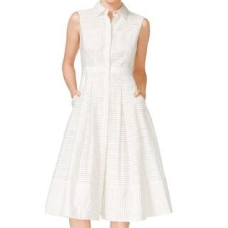 Rachel Rachel Roy NEW Ivory Women Size 8 Striped Two Pocket Shirt Dress