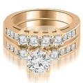 1.70 cttw. 14K Rose Gold Prong Set Round Cut Diamond Bridal Set - Thumbnail 0