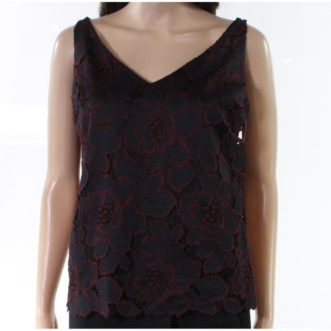 Trina Turk Black Womens Size Small S Floral Lace V-Neck Tank Top