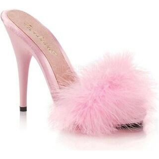 Fabulicious Women's Poise 501F Marabou Slide Baby Pink Satin-Marabou Fur/Baby Pink