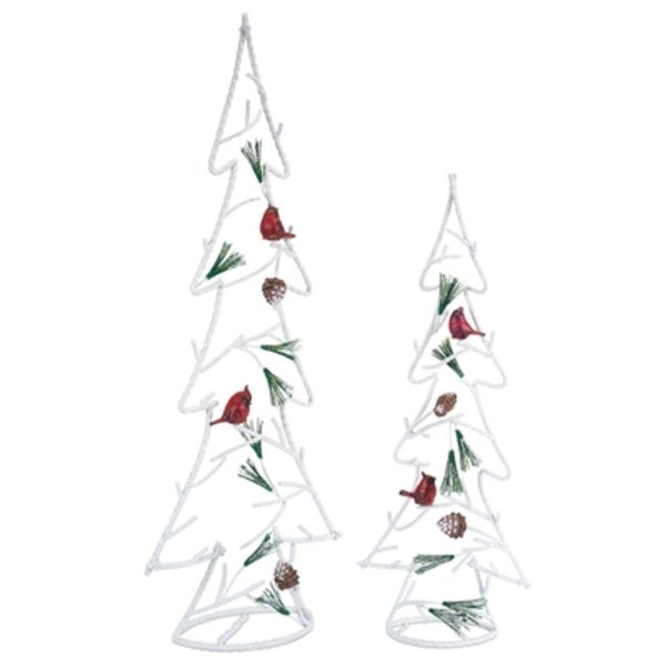 """Set of 2 Christmas Trees with Cardinal Birds Tabletop Decors 30"""" - WHITE"""