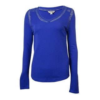 Lucky Brand Women's Lace Trim V-Neck Thermal Top - s