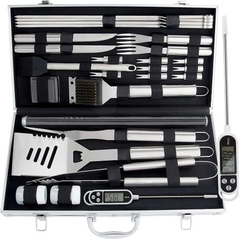 28pcBBQAccessories Set with Thermometer The Very Best Grill Gift on Birthday WeddingHeavy Duty Stainless Steel Grill Set in Case