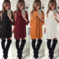 Trumpet Sleeve Chiffon Tunic Dress