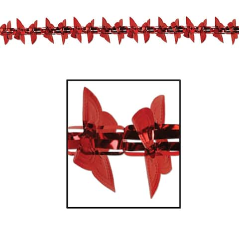 Club Pack of 12 Red Metallic Heart Garland Valentines Day Decorations 9'