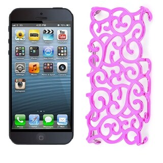 Unique Bargains Hollow Out Fuchsia Back Case Cover Shell for Apple iPhone 5 5S