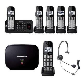 Panasonic KX-TGE445B Cordless Phone with Answering Machine- 5 Handsets