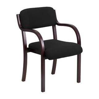 Offex Contemporary Black Fabric Wood Side Chair with Mahogany Frame [OF-SD-2052A-MAH-GG]