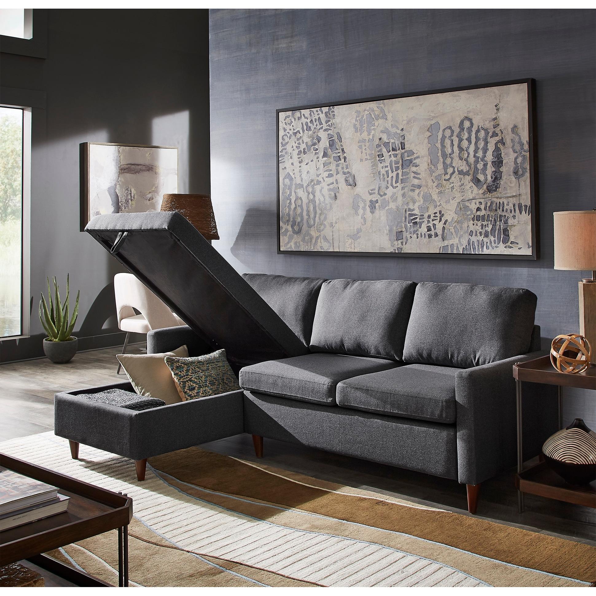 Walnut Finish Fabric Sectional Sofa