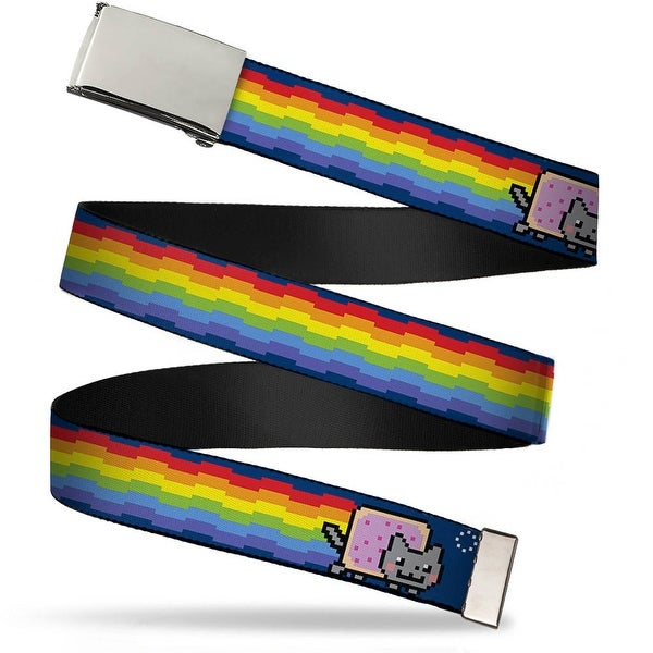 Blank Chrome Buckle Nyan Cat W Rainbow Long Streak Blue Webbing Web Belt