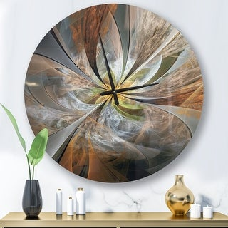 Link to Designart 'Symmetrical Yellow Fractal Flower' Oversized Wall Clock Similar Items in Decorative Accessories
