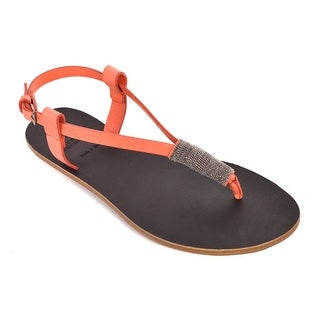 Brunello Cucinelli Monili Orange Leather Beaded Thong Sandal