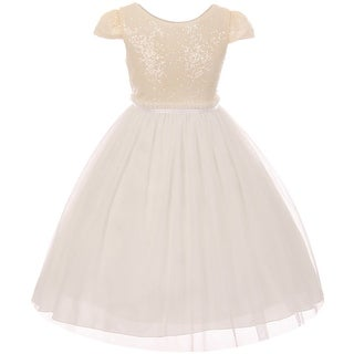 Cap Sleeve Sequin Mesh Trim Pageant Flower Dress USA Off White KD 410