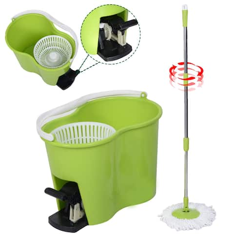 Costway Microfiber Spinning Mop Easy Floor Mop W/Bucket 2 Heads 360 Rotating Head Green