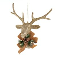 """8"""" Country Cabin Champagne Glitter Reindeer Head With Burlap Bow Christmas Ornament"""