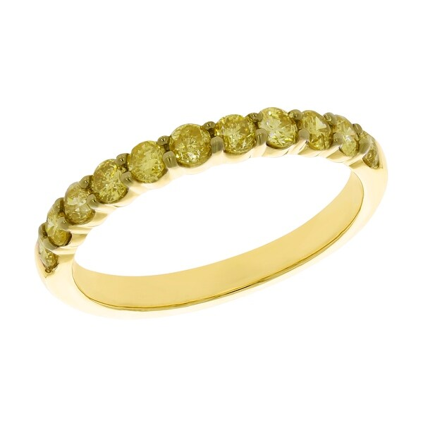 Prism Jewel 1/2Ct Round Yellow Color Diamond Stackable Band, 2.55mm Wide