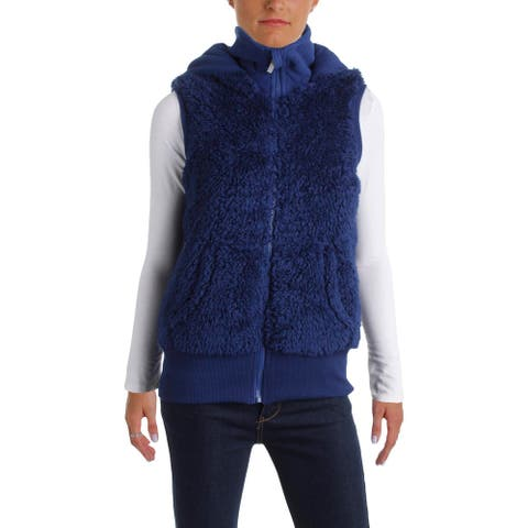 Kensie Women's Warm Faux Fur Sherpa Hooded Vest