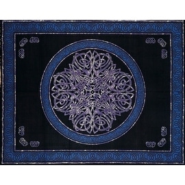 Handmade Cotton Celtic Circle Wheel Of Life Tapestry Spread Purple Black Twin 70x106 Full 88x106 Queen 106x106 King 110x110