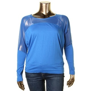 Soybu Womens Pullover Top Jersey Mesh Inset