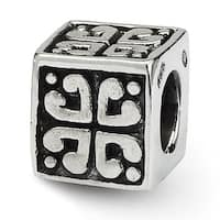 Sterling Silver Reflections Heart Cube Bead (4mm Diameter Hole)
