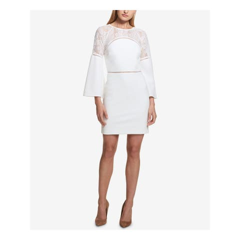 KENSIE Ivory Bell Sleeve Above The Knee Sheath Dress Size 14