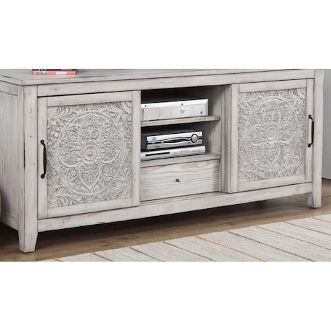 """Origins by Alpine Aria Wood 64"""" Wide TV Console in Weathered Light Gray"""