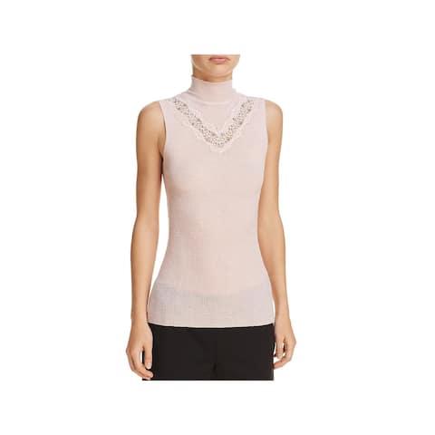 Elie Tahari Womens Cheresia Tank Top Sweater Embellished Lace Trim