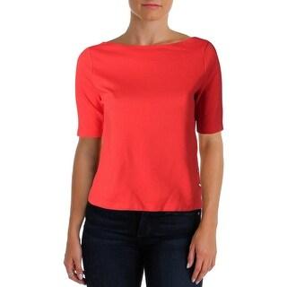 Lauren Ralph Lauren Womens Petites Crop Top Cotton Ribbed