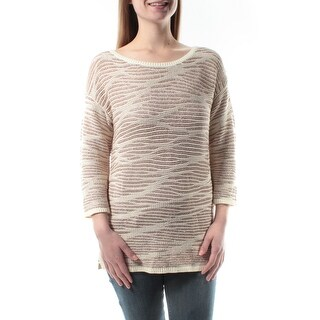 INC $80 Womens New 1237 Beige Striped Jewel Neck 3/4 Sleeve Sweater S B+B