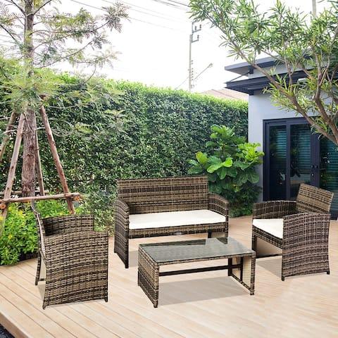 Outdoor Leisure Rattan Furniture 4 Piece Rattan Sectional Sofa Set