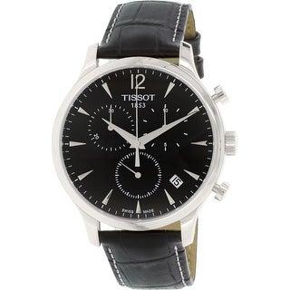 Tissot Men's T063.617.16.057.00 Black Leather Swiss Quartz Dress Watch