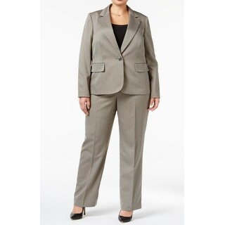 Le Suit NEW Gray Womens Size 8 Striped One-Button Notch-Collar Pant Suit