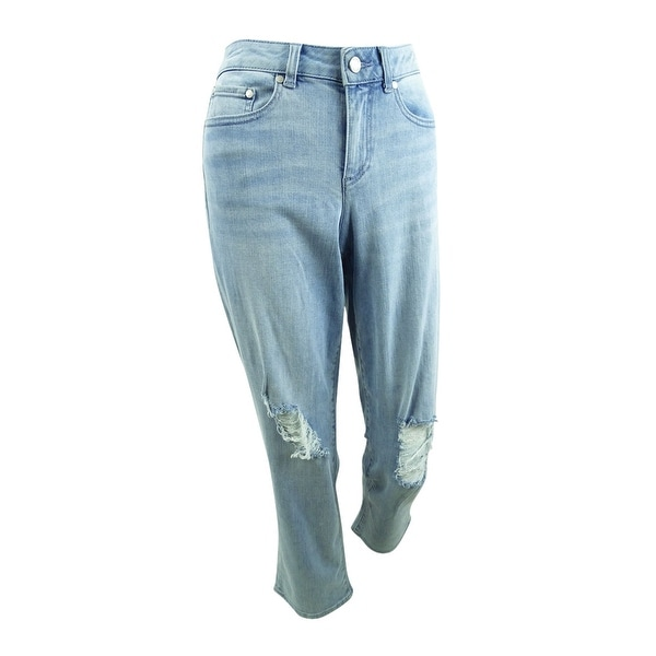 Vince Camuto Women's Cropped Light Indigo Ripped Jeans (27/4, Blue) - 4. Opens flyout.